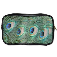 Peacock Feathers Macro Toiletries Bags 2 Side by GiftsbyNature