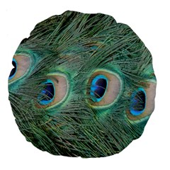 Peacock Feathers Macro Large 18  Premium Flano Round Cushions by GiftsbyNature