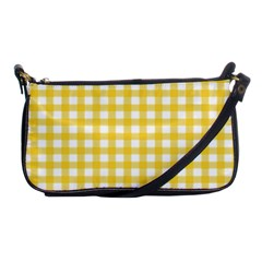 Deep Yellow Gingham Classic Traditional Pattern Shoulder Clutch Bags by CircusValleyMall