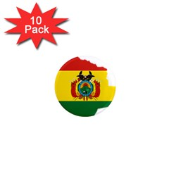 Flag Map Of Bolivia  1  Mini Magnet (10 Pack)  by abbeyz71