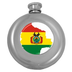 Flag Map Of Bolivia  Round Hip Flask (5 Oz) by abbeyz71