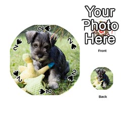 Puppy 2 Mini Schnauzer Playing Cards 54 (Round)  by TailWags