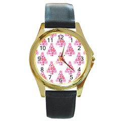 Pink Flamingo Santa Snowflake Tree  Round Gold Metal Watch by CrypticFragmentsColors
