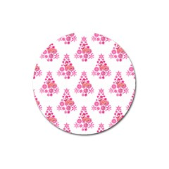 Pink Flamingo Santa Snowflake Tree  Magnet 3  (round)