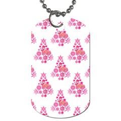 Pink Flamingo Santa Snowflake Tree  Dog Tag (one Side) by CrypticFragmentsColors