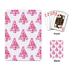 Pink Flamingo Santa Snowflake Tree  Playing Card