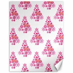Pink Flamingo Santa Snowflake Tree  Canvas 12  X 16