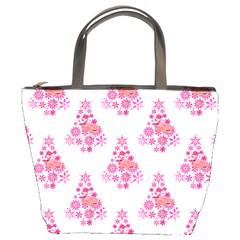 Pink Flamingo Santa Snowflake Tree  Bucket Bags