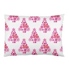 Pink Flamingo Santa Snowflake Tree  Pillow Case