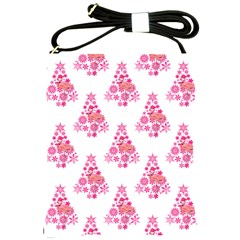Pink Flamingo Santa Snowflake Tree  Shoulder Sling Bags by CrypticFragmentsColors