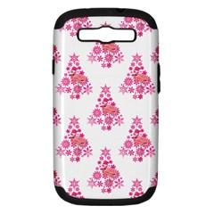 Pink Flamingo Santa Snowflake Tree  Samsung Galaxy S Iii Hardshell Case (pc+silicone) by CrypticFragmentsColors