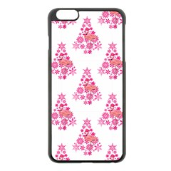Pink Flamingo Santa Snowflake Tree  Apple Iphone 6 Plus/6s Plus Black Enamel Case