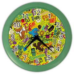 F Pattern Cartoons Color Wall Clocks by AnjaniArt