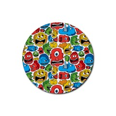 Face Creeps Cartoons Fun Rubber Round Coaster (4 Pack)  by AnjaniArt