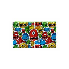 Face Creeps Cartoons Fun Cosmetic Bag (xs) by AnjaniArt