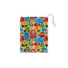Face Creeps Cartoons Fun Drawstring Pouches (xs)
