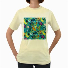 Gettinloose Women s Yellow T Shirt by AnjaniArt