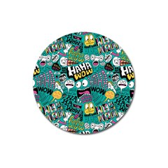 Haha Wow Pattern Magnet 3  (round) by AnjaniArt