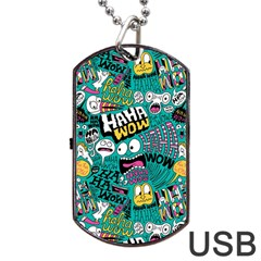 Haha Wow Pattern Dog Tag USB Flash (One Side) by AnjaniArt