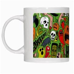 Halloween Pattern White Mugs