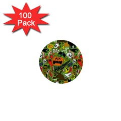 Halloween Pattern 1  Mini Buttons (100 Pack)  by AnjaniArt