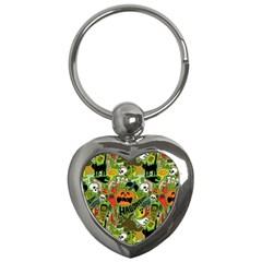 Halloween Pattern Key Chains (heart)  by AnjaniArt