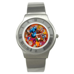 J Pattern Cartoons Stainless Steel Watch