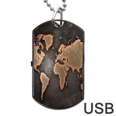 Grunge Map Of Earth Dog Tag USB Flash (One Side) by Zeze