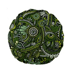 Green Boho Flower Pattern Zz0105 Standard 15  Premium Round Cushion  by Zandiepants