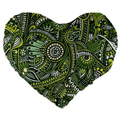 Green Boho Flower Pattern Zz0105 Large 19  Premium Flano Heart Shape Cushion by Zandiepants