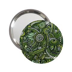 Green Boho Flower Pattern Zz0105 2 25  Handbag Mirror by Zandiepants