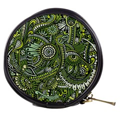 Green Boho Flower Pattern Zz0105 Mini Makeup Bag by Zandiepants