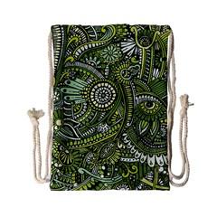 Green Boho Flower Pattern Zz0105 Drawstring Bag (small) by Zandiepants