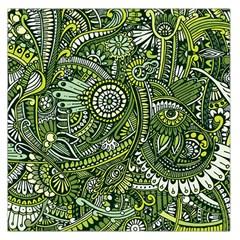 Green Boho Flower Pattern Zz0105 Large Satin Scarf (square) by Zandiepants