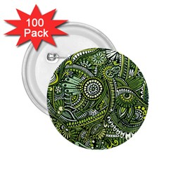 Green Boho Flower Pattern Zz0105 2 25  Button (100 Pack) by Zandiepants