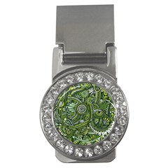 Green Boho Flower Pattern Zz0105 Money Clip (cz) by Zandiepants