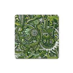 Green Boho Flower Pattern Zz0105 Magnet (square) by Zandiepants