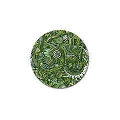 Green Boho Flower Pattern Zz0105 Golf Ball Marker by Zandiepants