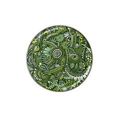 Green Boho Flower Pattern Zz0105 Hat Clip Ball Marker (10 Pack) by Zandiepants