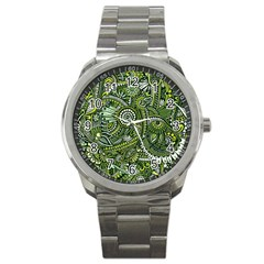 Green Boho Flower Pattern Zz0105 Sport Metal Watch by Zandiepants