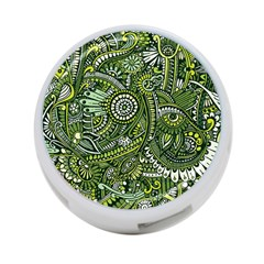 Green Boho Flower Pattern Zz0105 4 Port Usb Hub (one Side) by Zandiepants