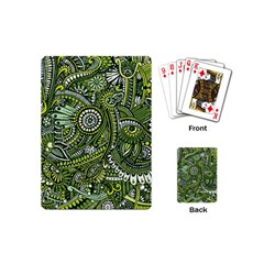 Green Boho Flower Pattern Zz0105 Playing Cards (mini) by Zandiepants