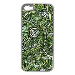 Green Boho Flower Pattern Zz0105 Apple Iphone 5 Case (silver) by Zandiepants
