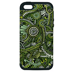 Green Boho Flower Pattern Zz0105 Apple Iphone 5 Hardshell Case (pc+silicone) by Zandiepants