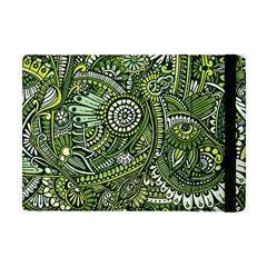 Green Boho Flower Pattern Zz0105 Apple Ipad Mini Flip Case by Zandiepants