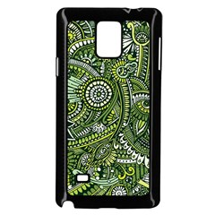 Green Boho Flower Pattern Zz0105 Samsung Galaxy Note 4 Case (black) by Zandiepants
