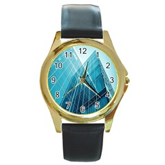 Glass Building Round Gold Metal Watch by Zeze