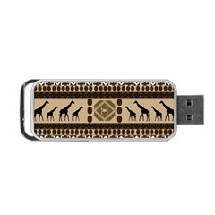 Giraffe African Vector Pattern Portable USB Flash (Two Sides) by Zeze