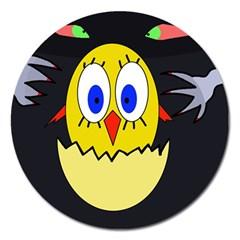 Chicken Magnet 5  (round) by Valentinaart