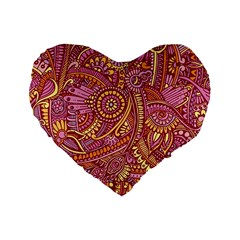 Pink Yellow Hippie Flower Pattern Zz0106 Standard 16  Premium Heart Shape Cushion  by Zandiepants